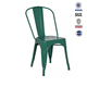 Colorful stacking design perforated dining iron industrial retro metal chair vintage