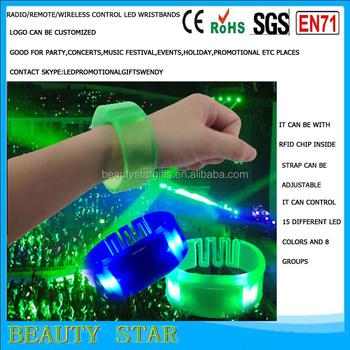 15 color light radio control led light bracelet wristbands music