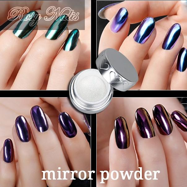 2017 nail art polvo de las uñas de acrílico espejo de cromo uñas ...