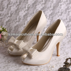 Cream Color Peep Toe Wedding Bridal Shoes with Bowtie