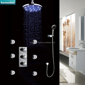 China Instock Bathing LED Shower Thermostatic Mixer Bathroom Ceiling Shower Kit with Handshower Body Jet Massage