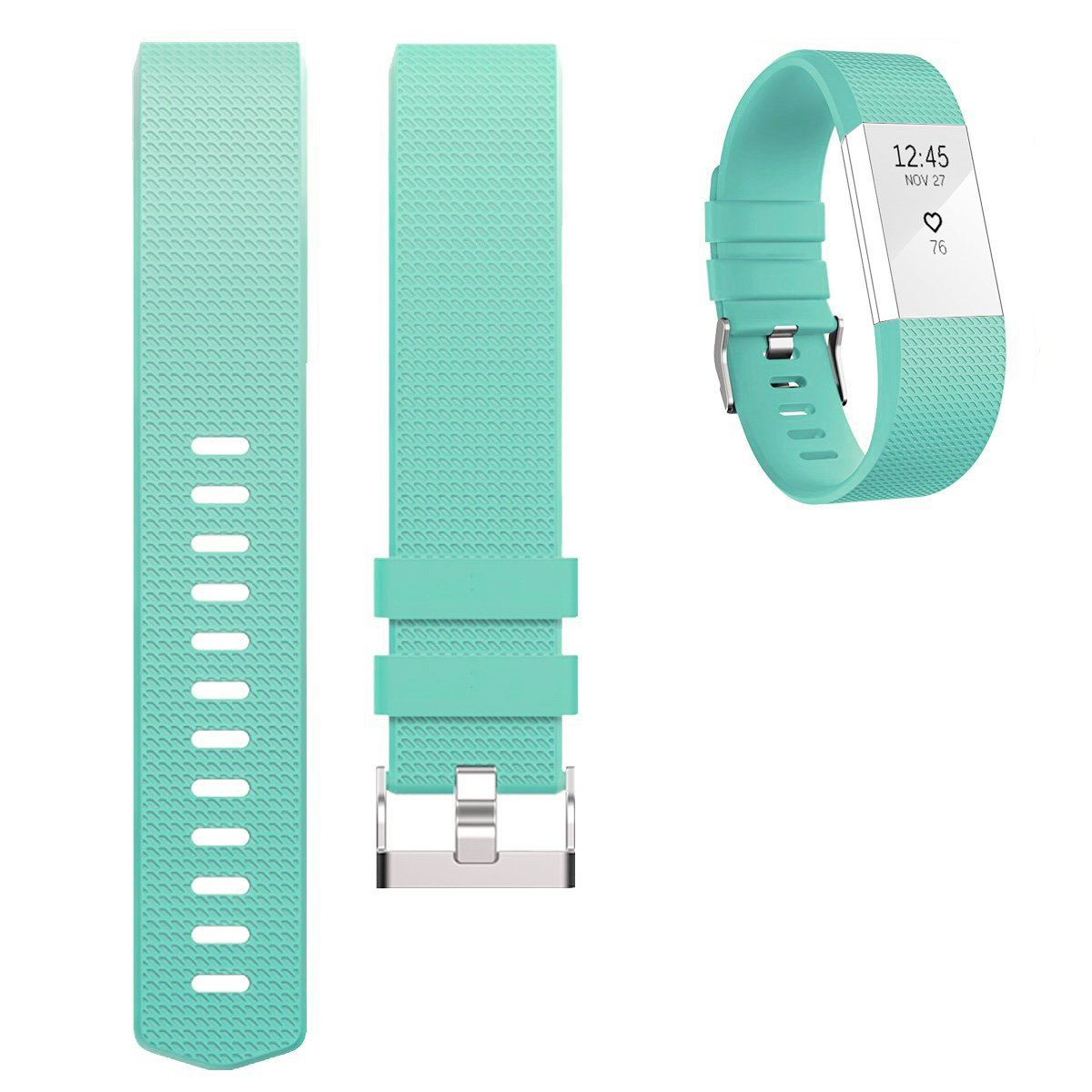 """Fitbit Charge 2 Silicone Band Mint Green,Ztotop Soft Silicone Adjustable Replacement Sport Strap Band for Fitbit Charge 2 Heart Rate + Fitness Wristband 5.70""""-8.26"""" (145mm-210mm)"""