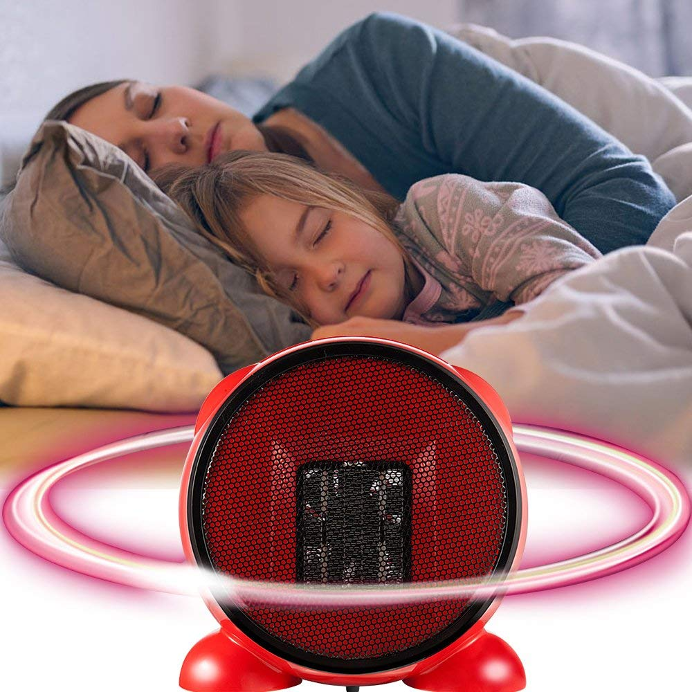 YOUDirect Mini Table Heater - Portable Personal Space Fashion Desktop Fan Heater, Cartoon Small PTC Ceramic Heating for Home Office Indoor Desk Heater 500W (Red)