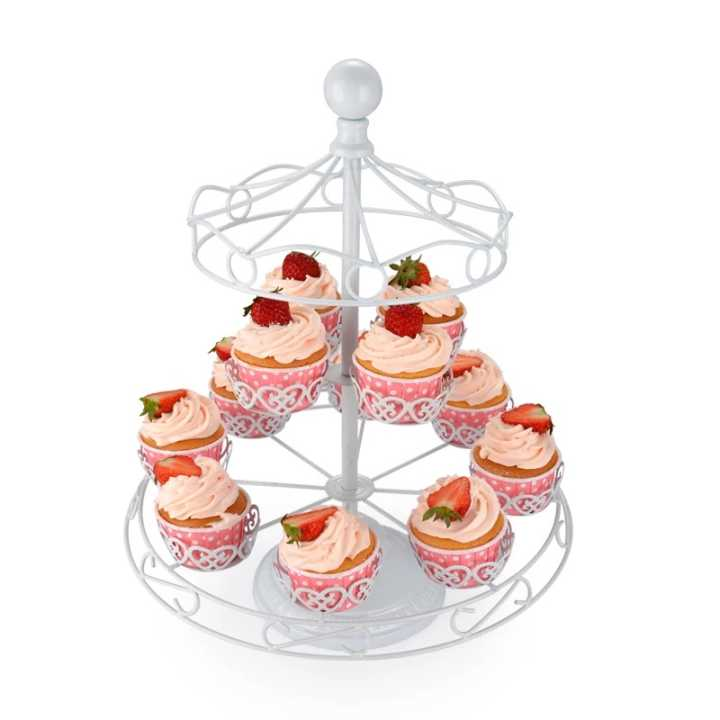 3 tier Ferris wheel foldable rotate party wedding fancy metal disposable cup cake holder cake stand
