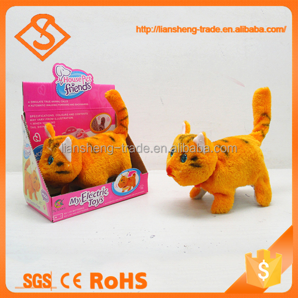 New design funny animal yellow color electric walking small cat toy with sound