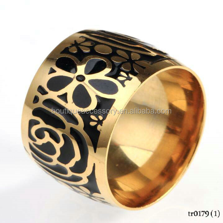 New Fasion Gold Stainless Steel Jewelry Black Plum Blossom Enamel Ring