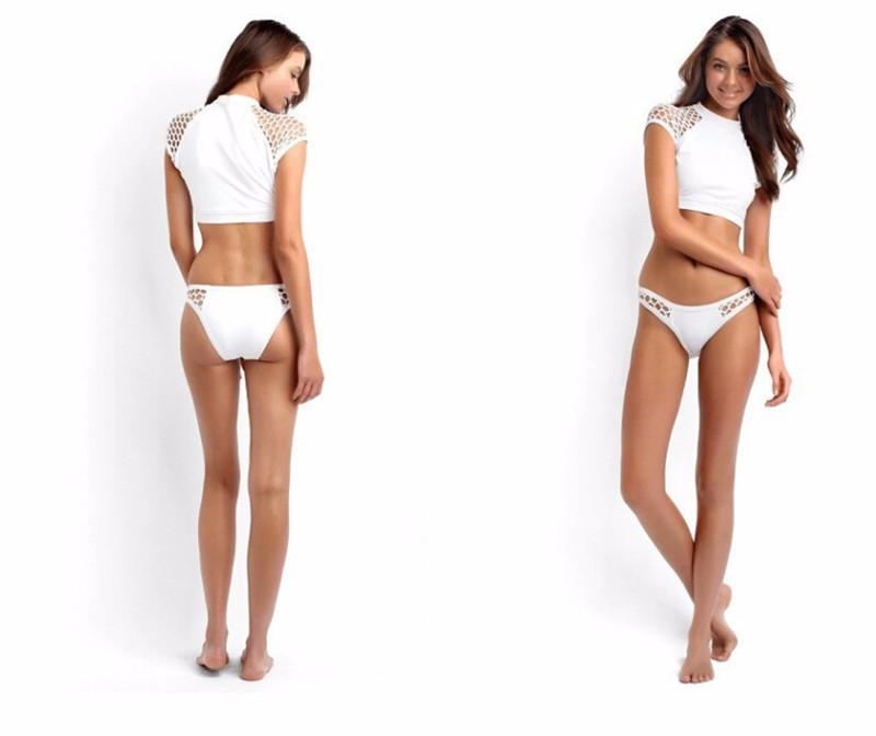 b450b339339bd White Hot Sale Nylon Mesh High Cut Brazilian Sheer Crop Top Bikini Women  Swimwear Sport Surfing Swimsuit Sunscreen Biquini