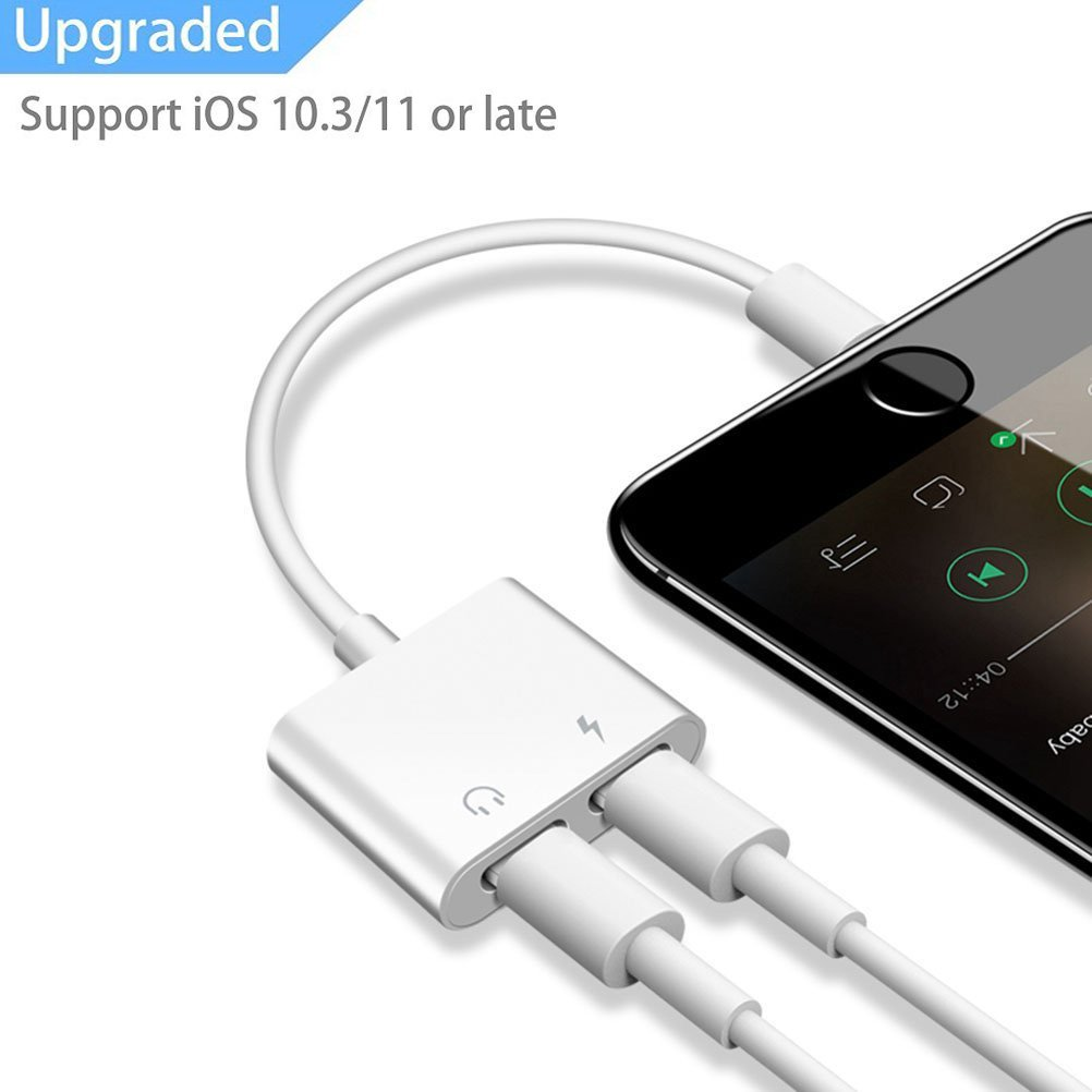 iPhone 7 8 X Splitter Dual Lightning Adapter, 2 in 1 Double Lightning Adapter Headphone Jack Converter AUX Female Audio Splitter Cable Support Audio Charge Sync Data Music Control Phone Call iOS 11