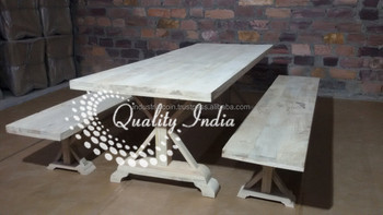 Swell White Finish Wooden Bench Style Dining Table And Benxh Style Chairs Buy Restaurant Dining Tables And Chairs Heavy Duty Dining Table And Chairs Dubai Caraccident5 Cool Chair Designs And Ideas Caraccident5Info