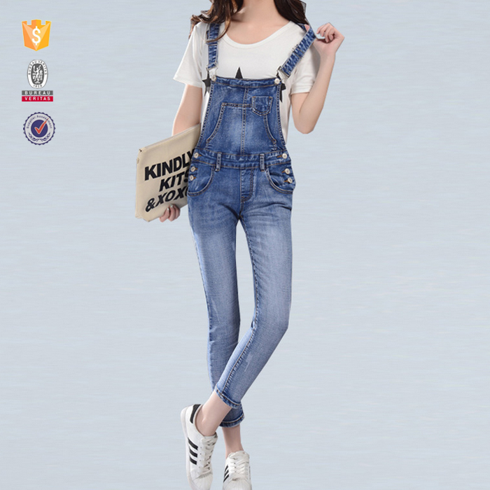 OEM service whoelsale classic style skinny jean overalls for women