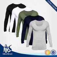 2016 guangzhou shandao summer casual multi color scoop neck long sleeve 180g 100% cotton jersey custom men slim fit t shirt