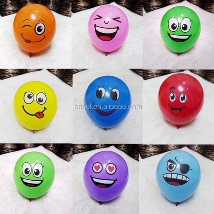 Latex Emoji Smiley Face Balloons 12 inches Yellow Emoji Balloon for Kids Birthday Party Favors 100pcs/lot