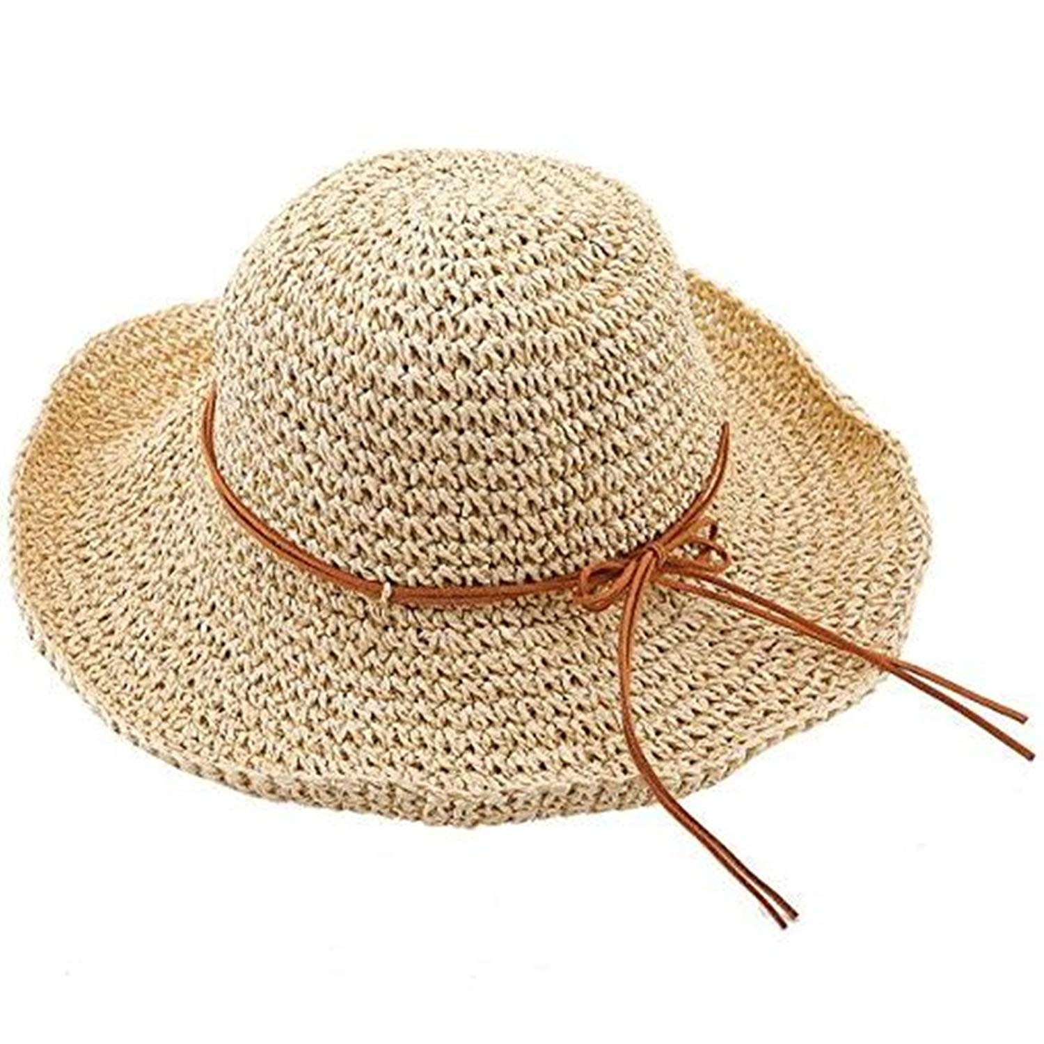 Get Quotations · Flovey Summer Floppy Straw Hat Womens Wide Brim Hand Woven  Packable Beach Sun Hat 101f85f92be1