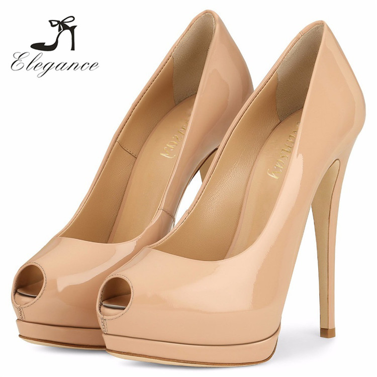 2017 Ladies Sexy Party Dress Patent PU Super High Heels Thin Heel Pumps Stiletto Peep Toe Platform Shoes
