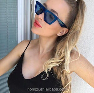 Brand Retro Cat Eye Sunglasses Women big flat top sun glasses acetate clear blue frame black sunglasses