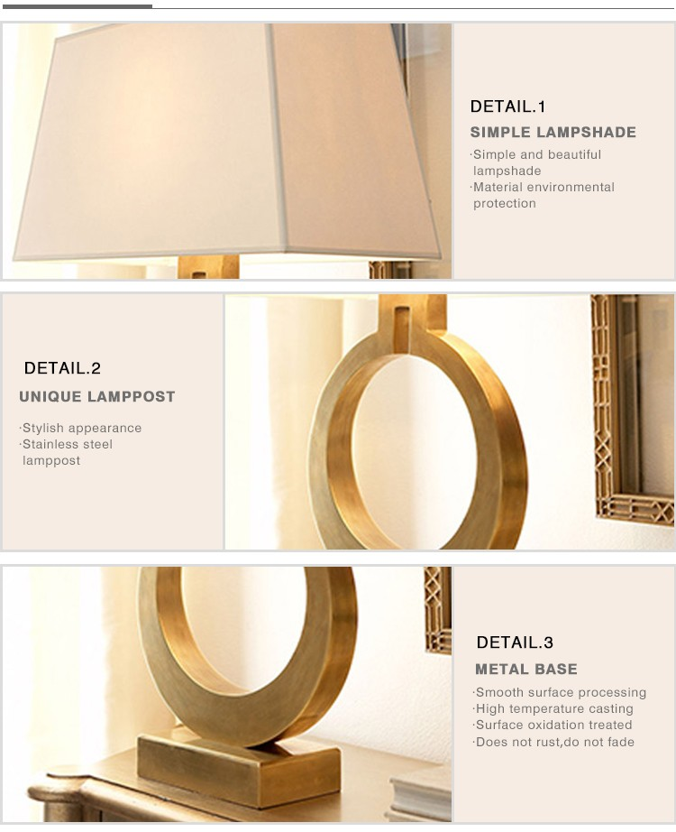 Modern design decorative home lighting gold / black round table lamp/table lamps for living room