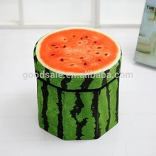 Hot sale ! Fruit watermelon Design Round ottoman storage stool foldable seat box with storage
