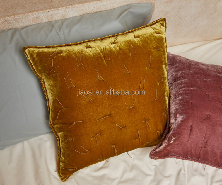Wholesale High Quality Multi-color Square Silk Velvet Handwork Throw Pillow Embroidered Decor Throw Pillows