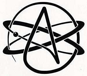 Atheist Symbol Vinyl Decal Car Window Wall Laptop Sticker, Die cut vinyl decal for windows, cars, trucks, tool boxes, laptops, MacBook - virtually any hard, smooth surface