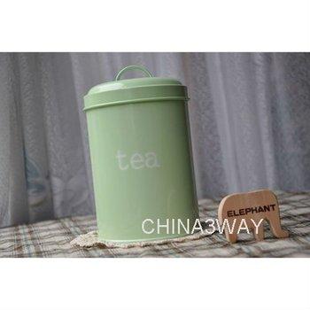 Enamel Stainless Steel Metal Green Tea Coffee Suger Storage Food Canister