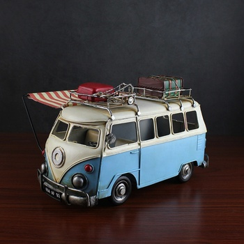 Home Artistic Models For Home Decoration High Quality Vintage Handmade Metal Crafts Bus Models With Camping Luggage Decoration