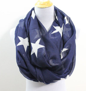 Winter warm cashmere thickened fringed blue star lady scarf