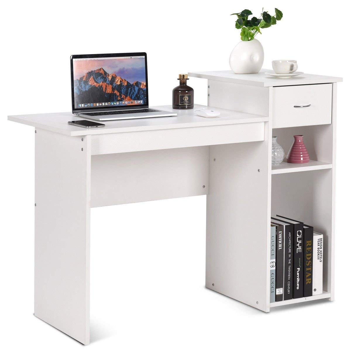 Tangkula Computer Desk Wooden PC Laptop Home Office Modern Simple Style Wood Study Workstation Writing Table Wooden Furniture Set (White)