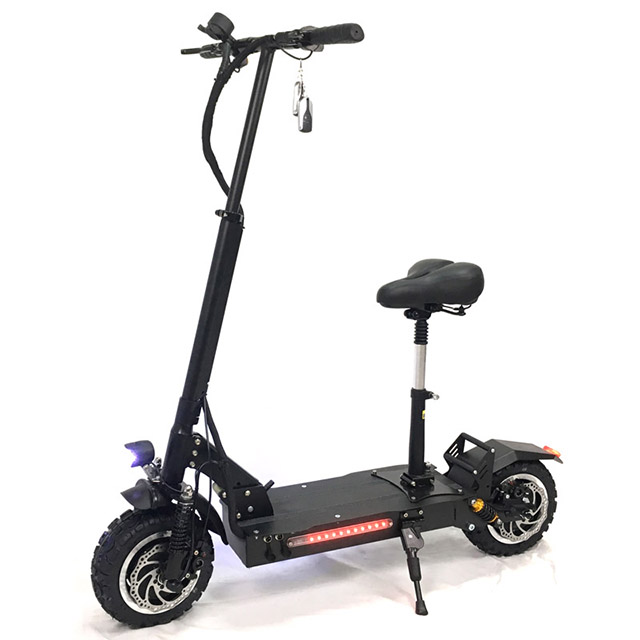 2019 Upgrade Version Suspensions Electric Scooter 3200W Dual Motors Off Road Foldable Electric Scooter with seat for adults, Black