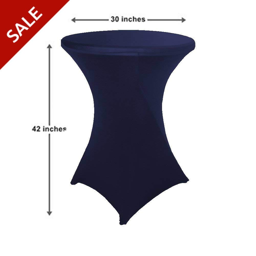 Round Bistro Table Cover Spandex Cocktail Table Covers Tall Wrinkle Free Round Fitted Stretch Table Cloth for Party Wedding Decoration (Navy) & Free Ebook by Stock4All