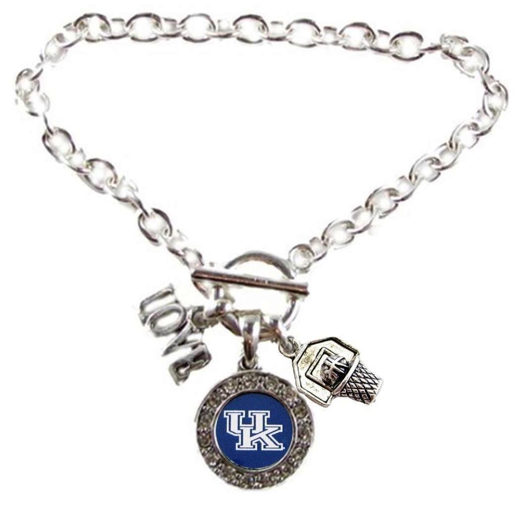 KENTUCKY WILDCATS Multi Charm Love Basketball Blue Silver Bracelet Jewelry-UK Basketball Bracelet