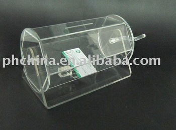 Rotating Clear Acrylic Lottery Tickets Box Lucite Raffle
