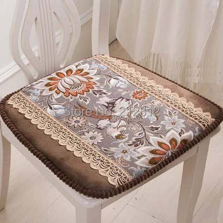 3 Color vintage European style Floral embroidered Luxury dining chair pads seat pads fasten home decorative wholesale dropship
