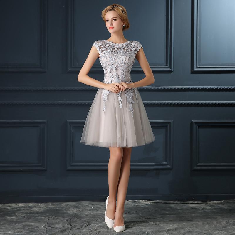 2016 Robe De Soiree elegance u collar party dress bridal banquet short lace evening dress Vestidos