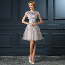 2016 Robe De Soiree elegance u collar party dress bridal banquet short lace evening dress Vestidos de fiesta flower girl dresses