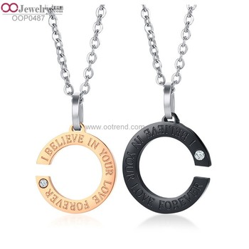 Letter C design crystal inlaid golden and black color lover charm necklace
