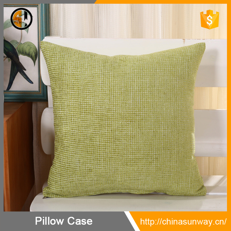 Woven Fine Faux Linen Home Decor Hand Made Pillow Case Custom Cushion Cover With Invisible Zipper For Couch Light Lawgreen
