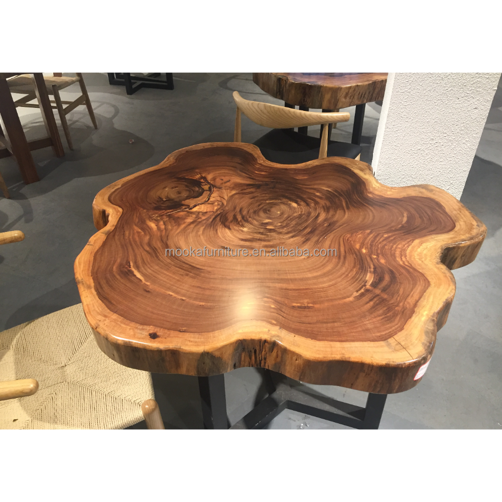 - 2017 Antique Natural Edge Zingana Wood Slab Tree Trunk Coffee