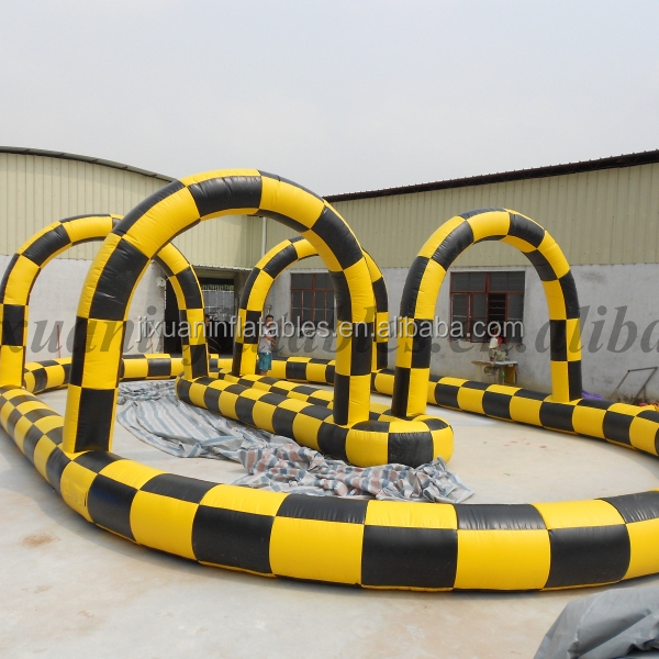 outdoor inflatable race track /inflatable go kart track/inflatable race for car