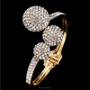 2016 14k gold cuff bracelet pave setting diamond three balls yiwu city zhejiang(SWTJU1116)