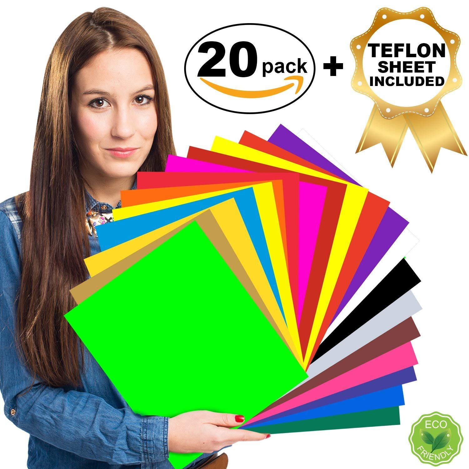 "HTV Heat Transfer Vinyl Bundle - 20 Assorted Colors 12"" x 10"" Sheets for Iron On T Shirts, Hats, Clothing 