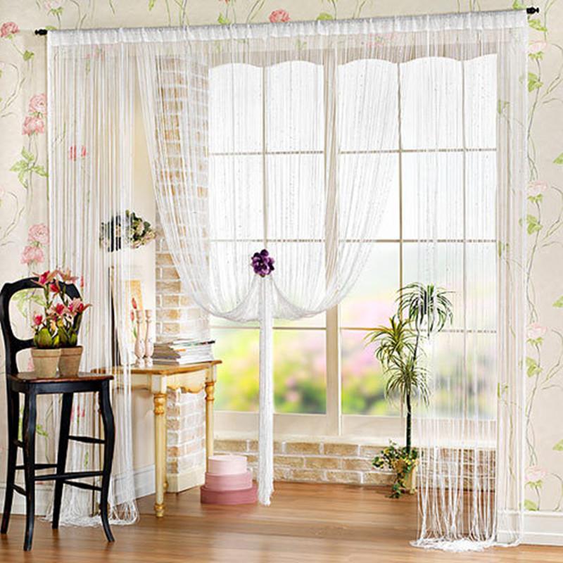 de un solo color blanco cortinas de la secuencia del poliester tela desgaste cortina varilla y