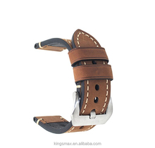 Brown 24mm Genuine Leather Wristwatch Watch Band Oil Tan Vintage Watchband for Men with Stainless Buckle