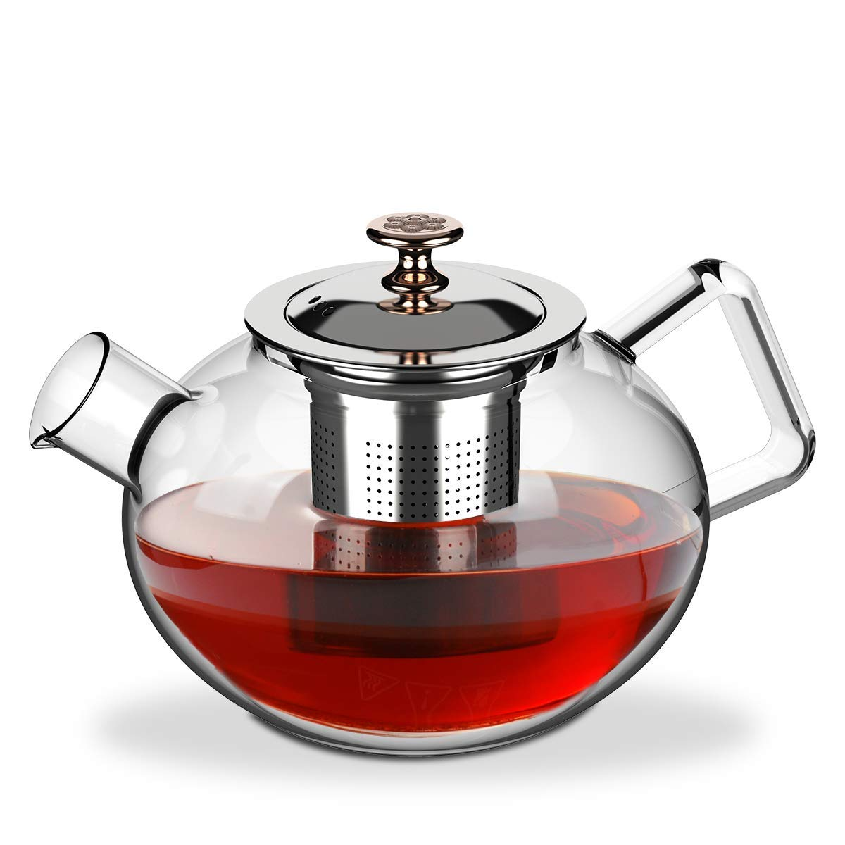 Glass Teapot Borosilicate Glass Tea Pots Stovetop Safe ,Heat Resistant Stove Top and Microwave safe with Stainless Steel Removable Infuser 27 Ounce / 800 ml