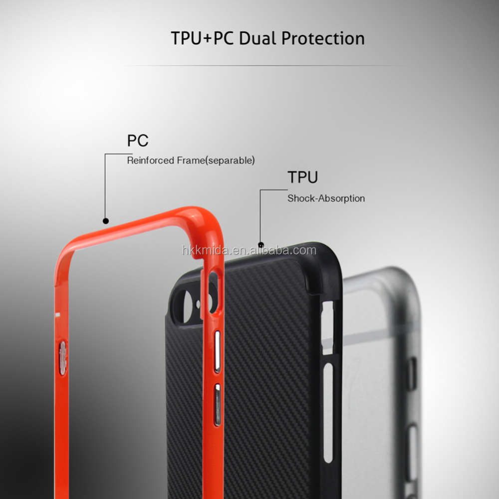 High quality Plastic bezel mobile cover for apple iphone TPU shock-absorption Phone case for iPhone 7