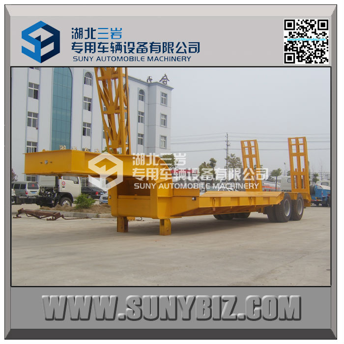 45t to 100t low flatbed semi trailer