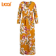 Online Shopping V Neck Long Maxi Dress Bohemian Holiday Clothes Vintage Wrap Floral Print Ladies Long Sleeve Dresses