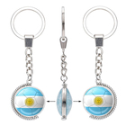 Custom National Country Flag Dome Keyring 2018 Russia World Cup Football Game Rotating Metal Keychain