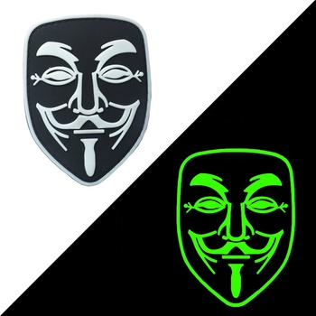 Custom Luminous PVC Patch Glow In The Dark Rubber Patches Military Hook Back Swat OPS Morale Pvc Patch Guy Fawkes mask Patch
