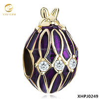 Gold Plated Silver Purple Drip Gum Rabbit Crystal Faberge Egg Bead Charms