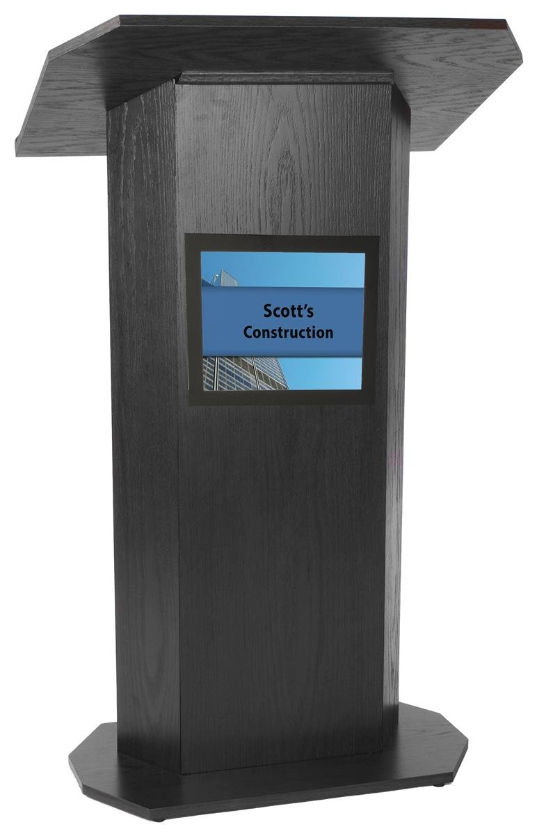 "Portable Podium for Floor, with Shelf, 49"" Tall, 30"" Wide, 8.5"" x 11"" Sign Holder, Wood"